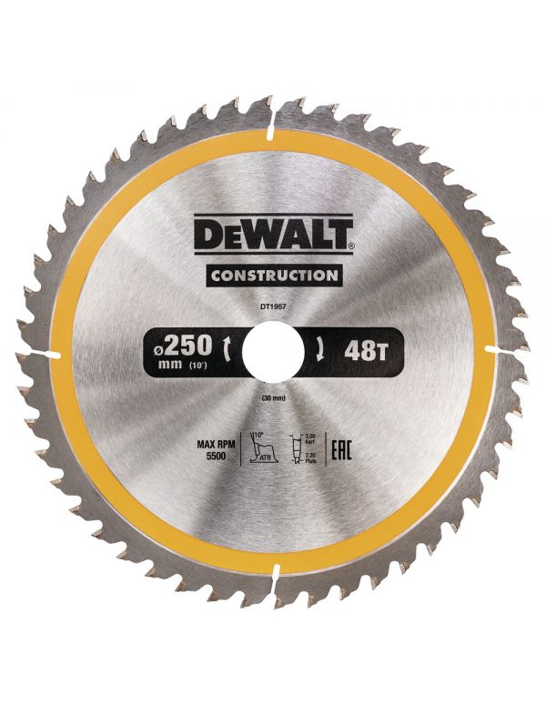 DT1957 Lama Dewalt Diametro 250mm Foro 30mm 48T